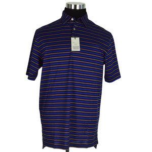 NEW Peter Millar Mens Polo Shirt M Navy Blue Pink